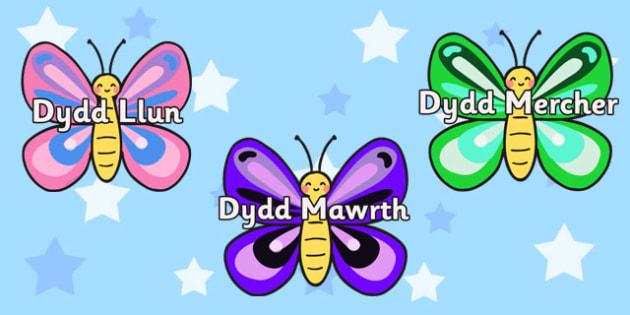 Dyddiau'r Wythnos Pili-Palod - welsh display, days, week, diwrnodau'r wythnos
