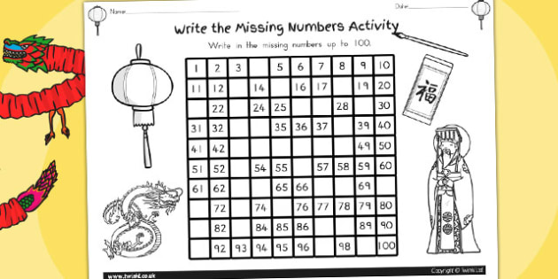 Chinese New Year Missing Numbers Number Square - australia, year