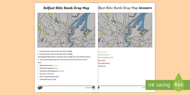 Belfast Blitz Bomb Drop Map World Around Us Ks2 Northern Ireland