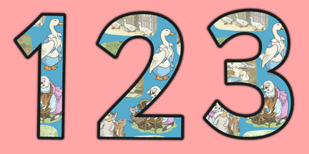 Beatrix Potter - The Tale of Tom Kitten Themed A4 Display Numbers - beatrix potter, tom kitten