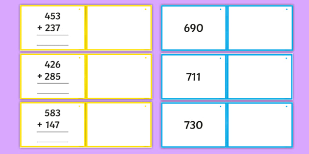 Adding 2 Three-Digit Numbers Crossing the Tens Boundary Matching Cards - Addition and Subtraction, add, more, plus, and, make, altogether, total, equal to, equals, double, m