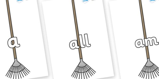 Foundation Stage 2 Keywords on Garden Rakes - FS2, CLL, keywords, Communication language and literacy,  Display, Key words, high frequency words, foundation stage literacy, DfES Letters and Sounds, Letters and Sounds, spelling