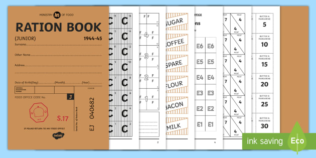photo regarding Ration Book Ww2 Printable known as Printable WW2 Ration Guide Booklet