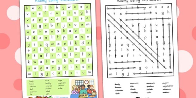 Healthy Eating Page Wordsearch - food, fruit, word games, words