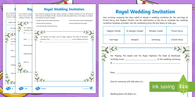 royal wedding invitation writing template teacher made royal wedding invitation writing