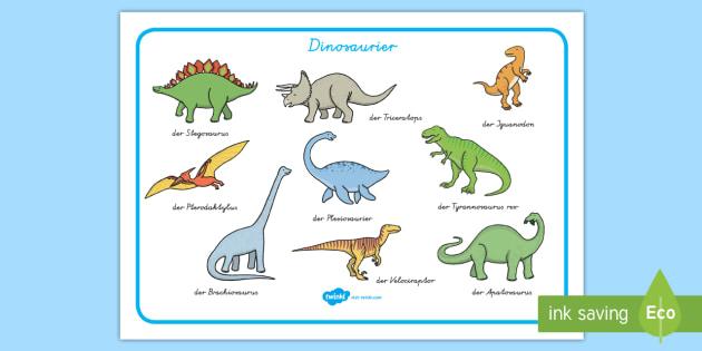 Dinosaurier Wortschatzsammlung: Querformat - Dino, Dinos, Namen