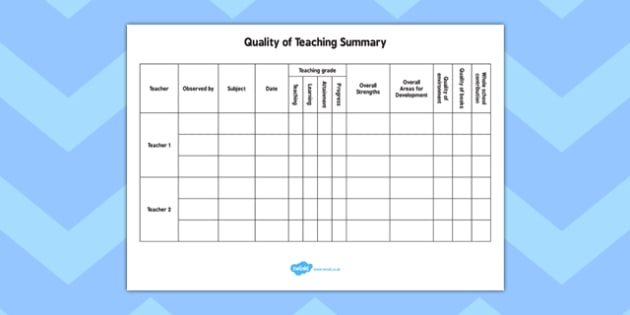 Quality of Teaching Summary - quality, teaching, summary, teach