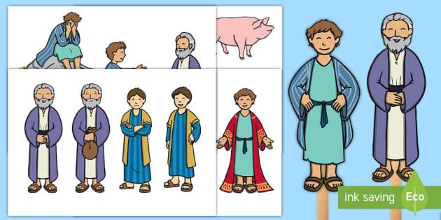 The Prodigal Son Stick Puppets Teacher Made