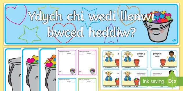 Ydych Chi Wedi Llenwi Bwced Heddiw? Pecyn Adnoddau - Dysgu Cymraeg fel Ail Iaith, Llenwi bwced,Sgiliau Cymdeithasol, caredig, cwrtais, ymddygiad.,Welsh