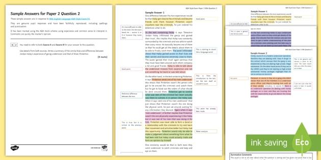 gcse 006 aqa english language p2 q2 sample answers