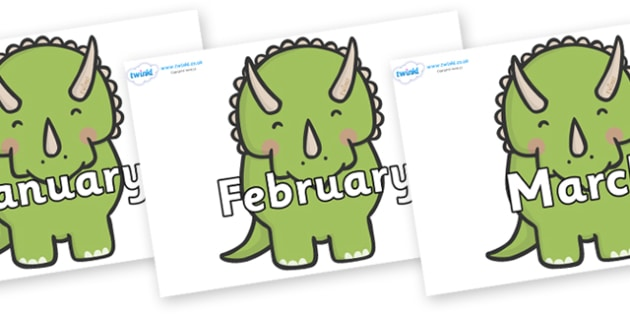 Months of the Year on Triceratops Dinosaurs - Months of the Year, Months poster, Months display, display, poster, frieze, Months, month, January, February, March, April, May, June, July, August, September