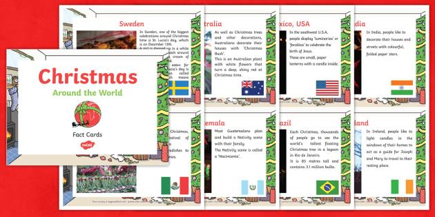EYFS Christmas Around the World Fact Cards - eyfs, christmas, around the world, fact cards