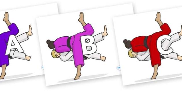 A-Z Alphabet on Judo - A-Z, A4, display, Alphabet frieze, Display letters, Letter posters, A-Z letters, Alphabet flashcards