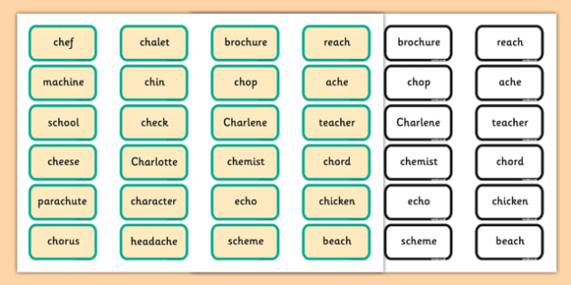 Alternative Pronunciation of CH Sorting Game - phonics, phase 5, phase 5 DfE, letters and sounds