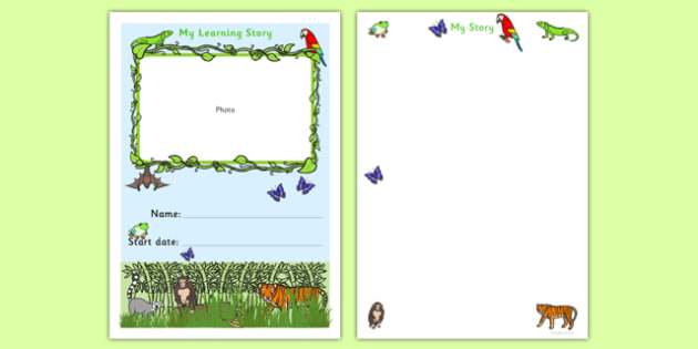 EYFS My Learning Journey Front Cover Jungle Themed - rainforest