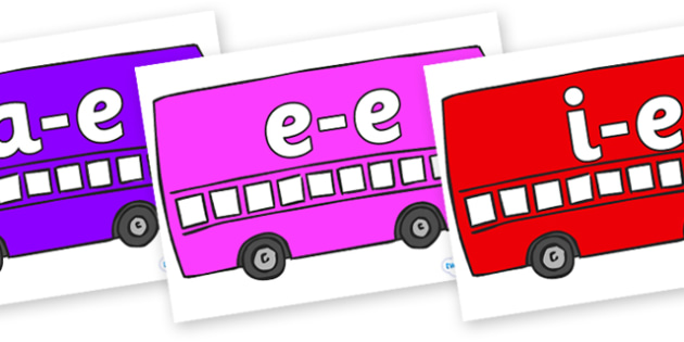 Modifying E Letters on Buses - Modifying E, letters, modify, Phase 5, Phase five, alternative spellings for phonemes, DfES letters and Sounds