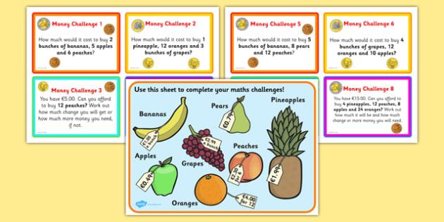 Maths Money Problems Challenge Cards Euros - challenge, cards