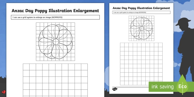 Anzac Day Poppy Illustration Enlargement Worksheet Activity