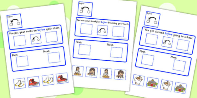 Before Cards Cut And Stick Activity With Sequencing Strip