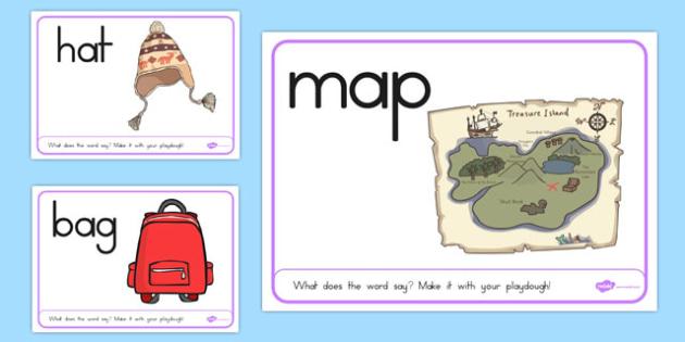 CVC Word Playdough Mats A - CVC, fine motor skills, key words