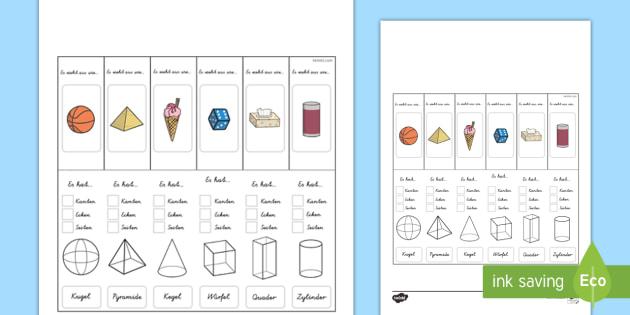 Eigenschaften von 3D-Formen Lernhilfe Arbeitsblatt - Mathe