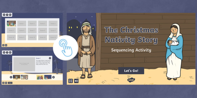 Nativity Scene Story Sequencing Interactive Activity - twinkl go, go