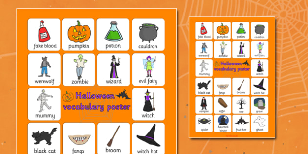 Halloween Vocabulary Poster - display, posters, festivals