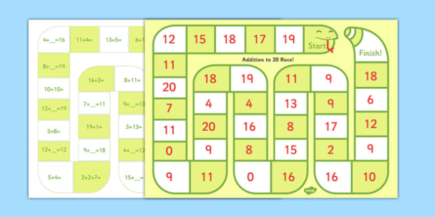 Self Checking Addition to 20 Board Game - self-check, board, game