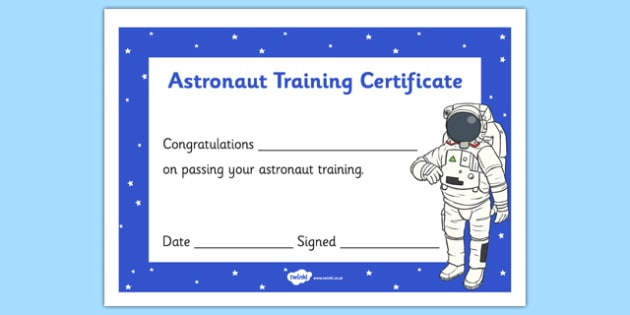 Training Certificate  Space Spaceman Spacemen