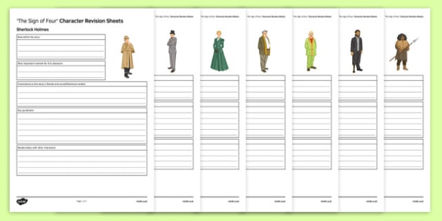 The Sign of Four Character Revision Sheets - The Sign of Four, Prose, GCSE English Literature, Arthur Conan Doyle, Sherlock Holmes, AQA syllabus, Literary Heritage Text, Reading, 19th Century Fiction, characters