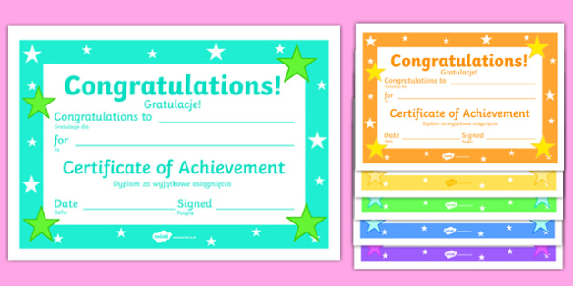 Editable Reward Certificates Polish Translation - polish, reward, award, certificate, prizes