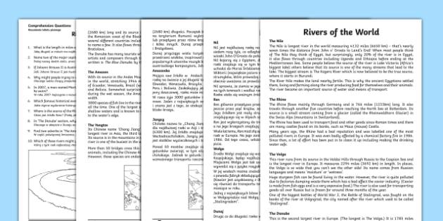 Rivers Of The World Comprehension Worksheet / Worksheets English/Polish