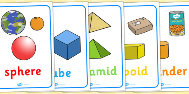 3D Shape Posters with Everyday Examples - In the environment, Shape poster, Shape flashcards, Shape recognition, Shapes in the environment, numeracy,geometry,shapes,3d,posters,displays
