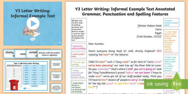 features of an informal letter y3 letter writing informal model example text wagoll 12181