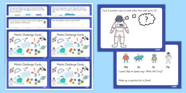 Space Themed KS1 Maths Challenge Cards - challenge, cards, space