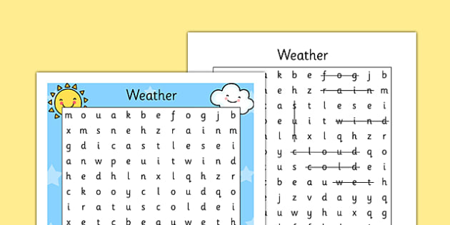 Weather Wordsearch - seasons, word search, games, find the word