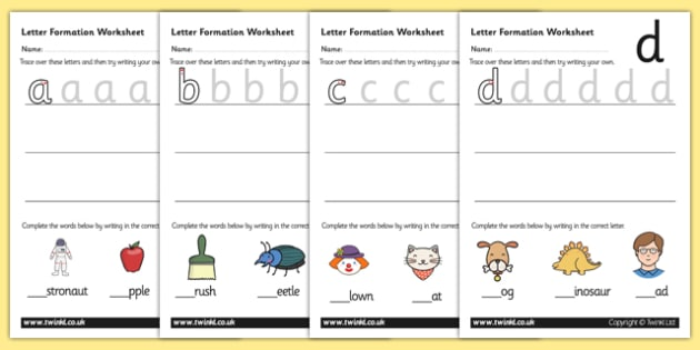free letter formation worksheets a z education home school child. Black Bedroom Furniture Sets. Home Design Ideas