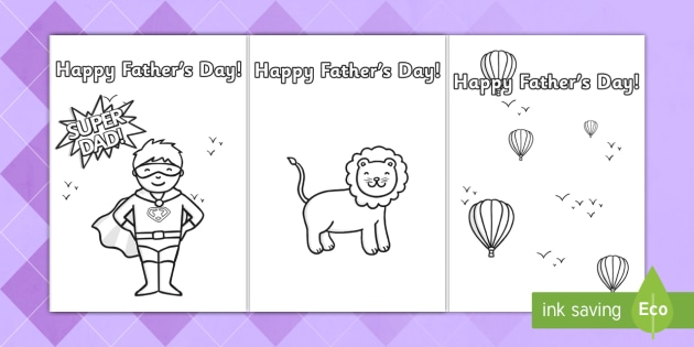 father s day card template colouring design father s day