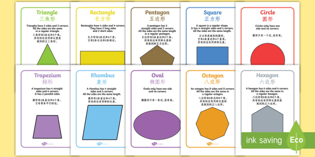 2D Shape Information Poster English/Mandarin Chinese - 2D