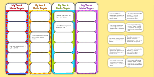 2014 National Curriculum Year 4 Maths Target Bookmarks - numeracy, ks2