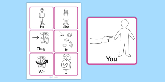 Personal Pronouns Symbol Support Cards (teacher made)