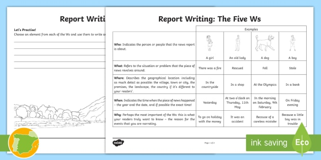 The 5 Ws Worksheet / Worksheet - News report, who, what ...