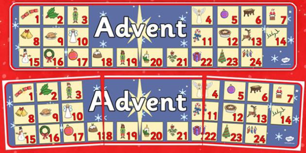 Advent Christmas Display Banner - advent, christmas, display banner, banner, banner for display, classroom display, header, display header, themed banner