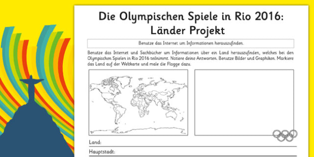 Die Olympischen Spiele in Rio 2016: Länder Projekt - german, rio olympics, 2016 olympics, country, factfile, fact file