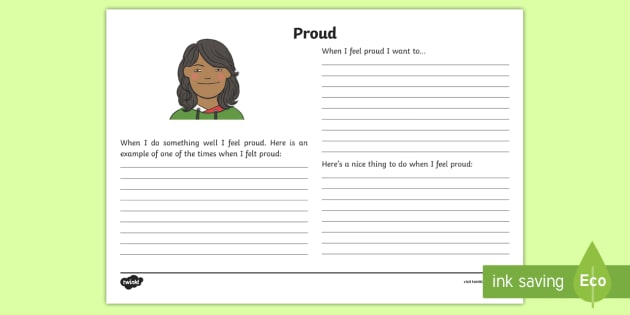 Feeling Proud Reflection Writing Template - feelings, emotions, S.P.H.E., reflection, writing template, activity sheet, actions, consequences, p