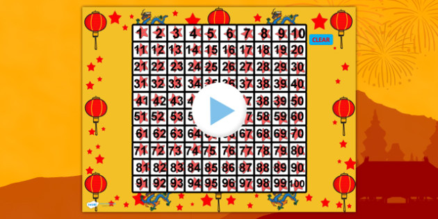 chinese new year theme 100 number square powerpoint number square number square