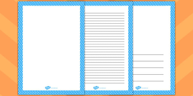 Blue and White Polka Dot Page Borders - page, borders, polka dot