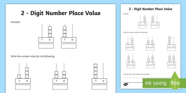 Deeper Learning Task Place Value 2 Digit Numbers Worksheet / Worksheet