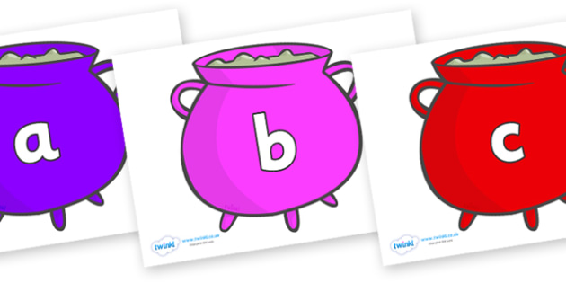 Phase 2 Phonemes on Cauldrons (Multicolour) - Phonemes, phoneme, Phase 2, Phase two, Foundation, Literacy, Letters and Sounds, DfES, display