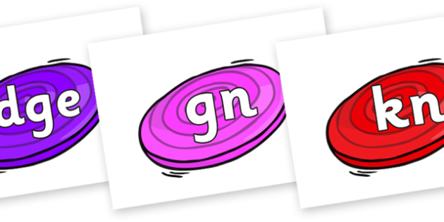 Silent Letters on Frisbees - Silent Letters, silent letter, letter blend, consonant, consonants, digraph, trigraph, A-Z letters, literacy, alphabet, letters, alternative sounds